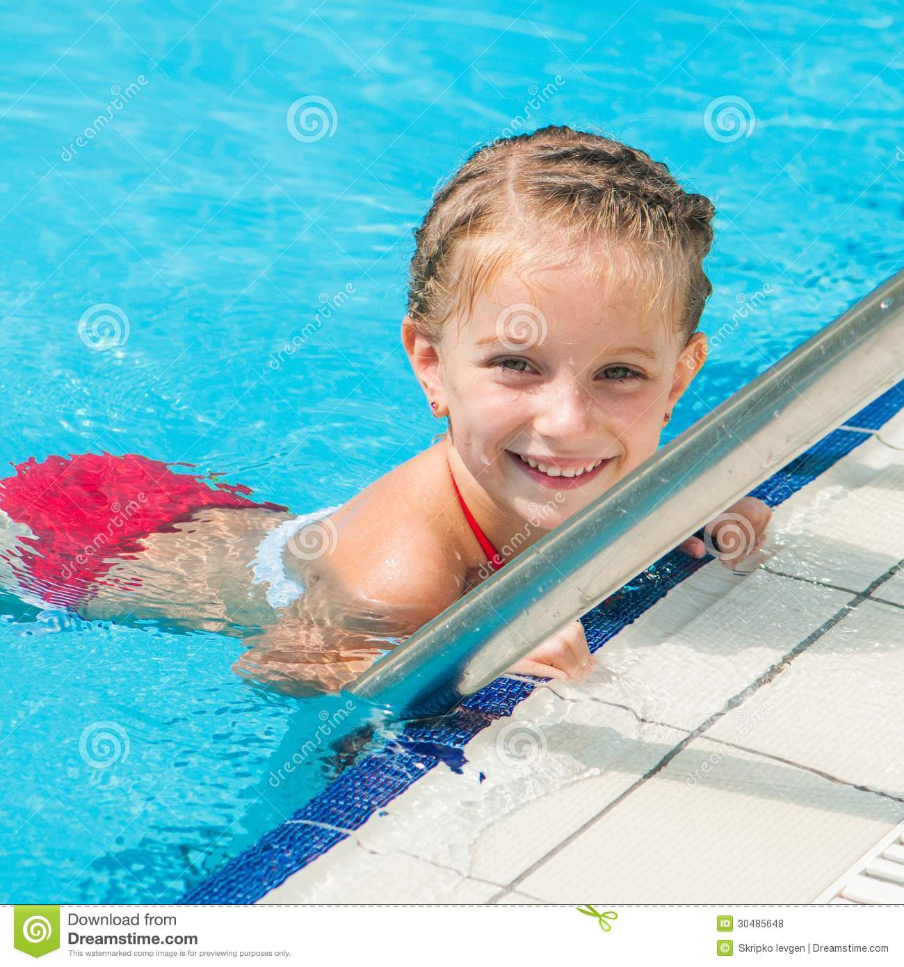 Pretty Little Girl In Swimming Stock Photo Image 30485648