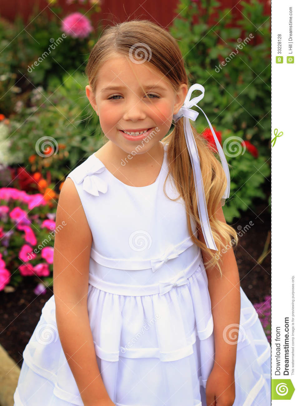 pretty little girl in white dress stock photo image of. Black Bedroom Furniture Sets. Home Design Ideas