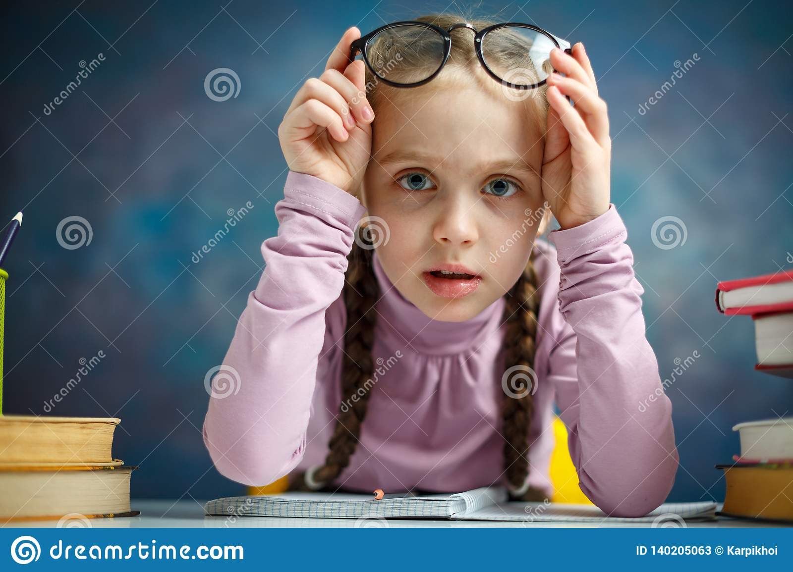 Pretty Little Primary Student Girl Study Home Stock Image Image Of