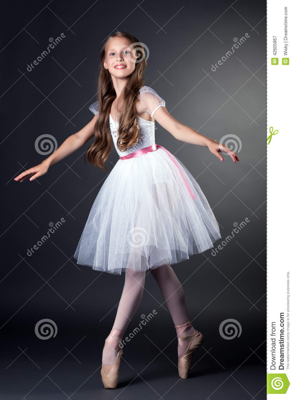 Pretty Long-haired Ballerina Dancing In Studio Stock Photo - Image ...