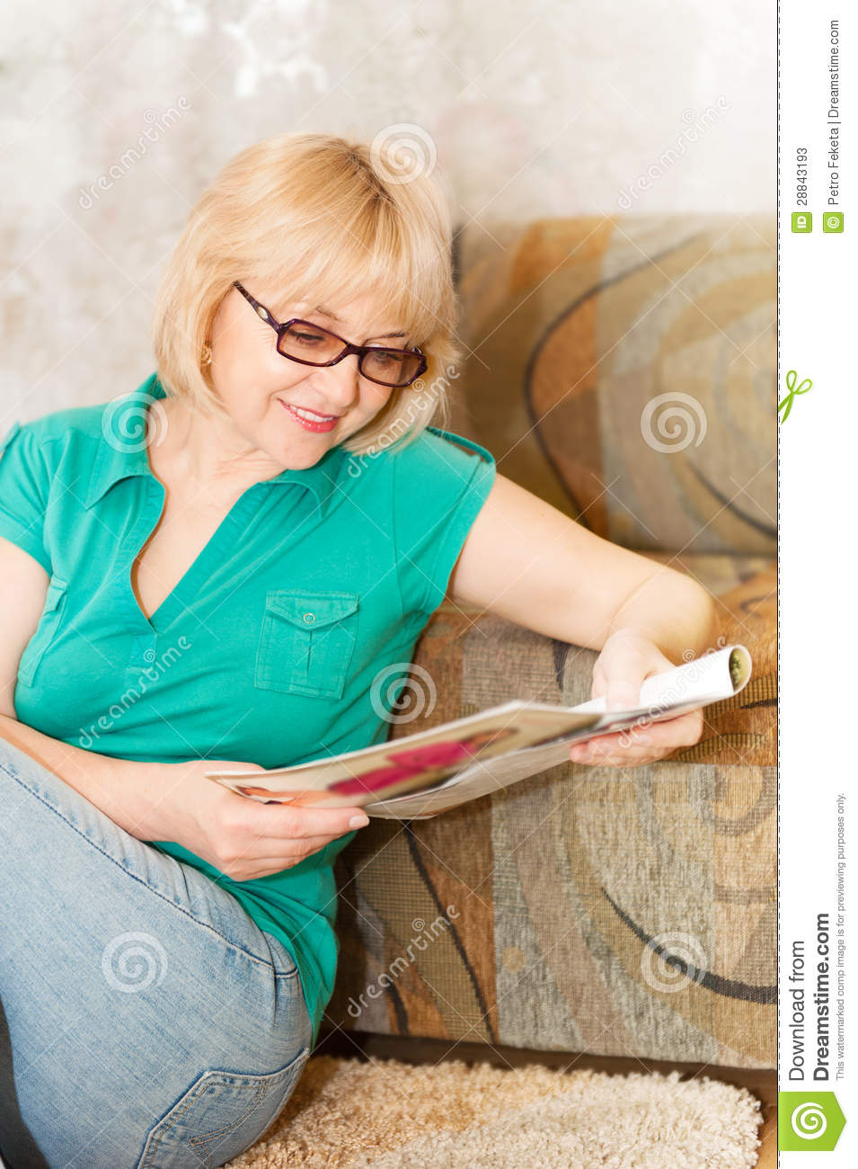 pretty mature woman in glasses reading magazine stock photos image 28843193. Black Bedroom Furniture Sets. Home Design Ideas