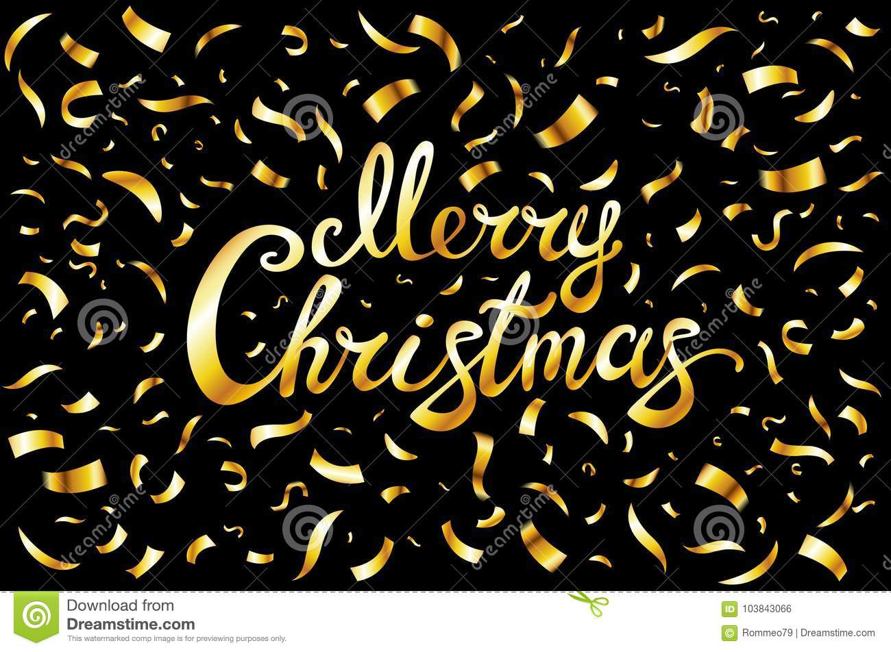 Pretty Merry Christmas Card Template Gold Glitter Confetti And Hand