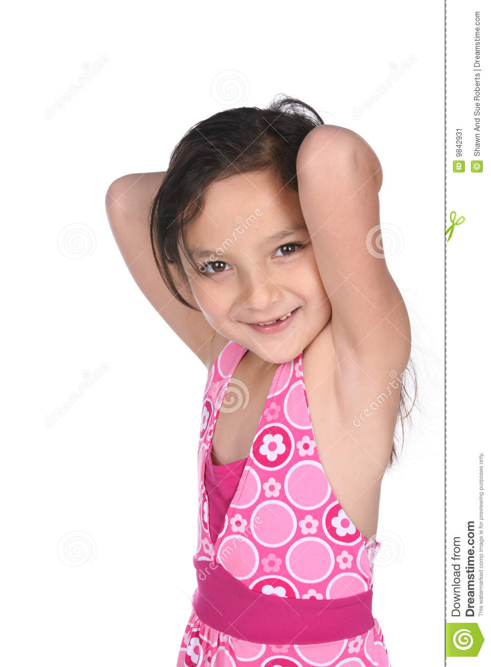 Pretty Mixed Race Girl With Arms Raised Stock Image - Image of brown ...