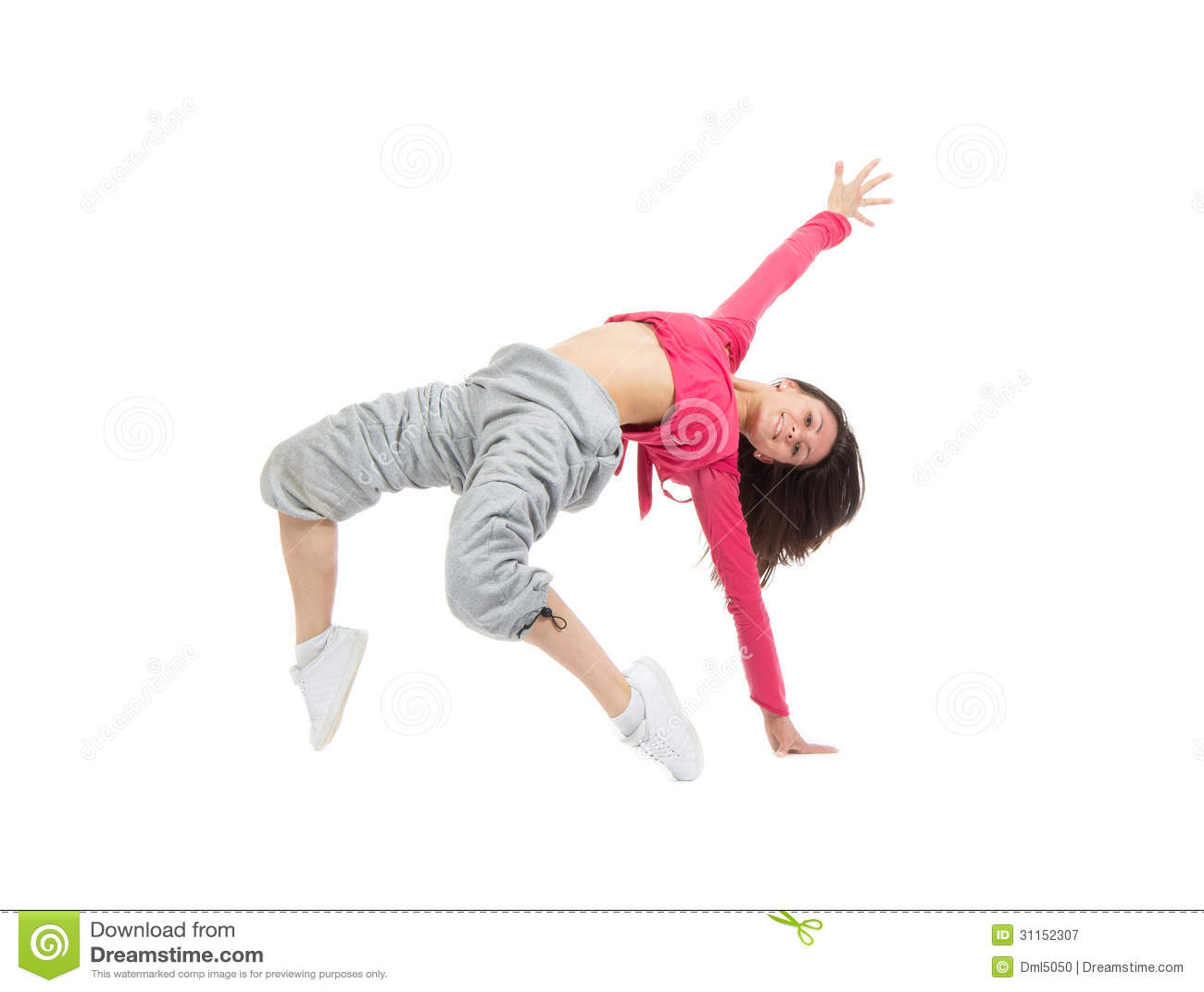 Pretty Modern Slim Hip-hop Style Teenage Girl Jumping ...