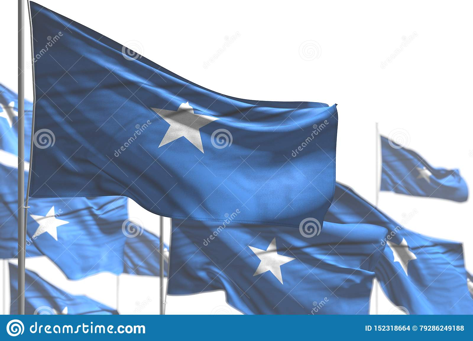 Pretty national holiday flag 3d illustration - many Somalia flags are wave isolated on white - picture with bokeh