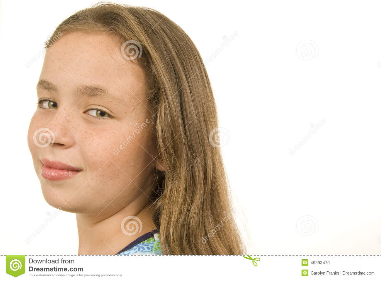 Pretty Nine Year Old Girl Looking At Camera Stock Photo