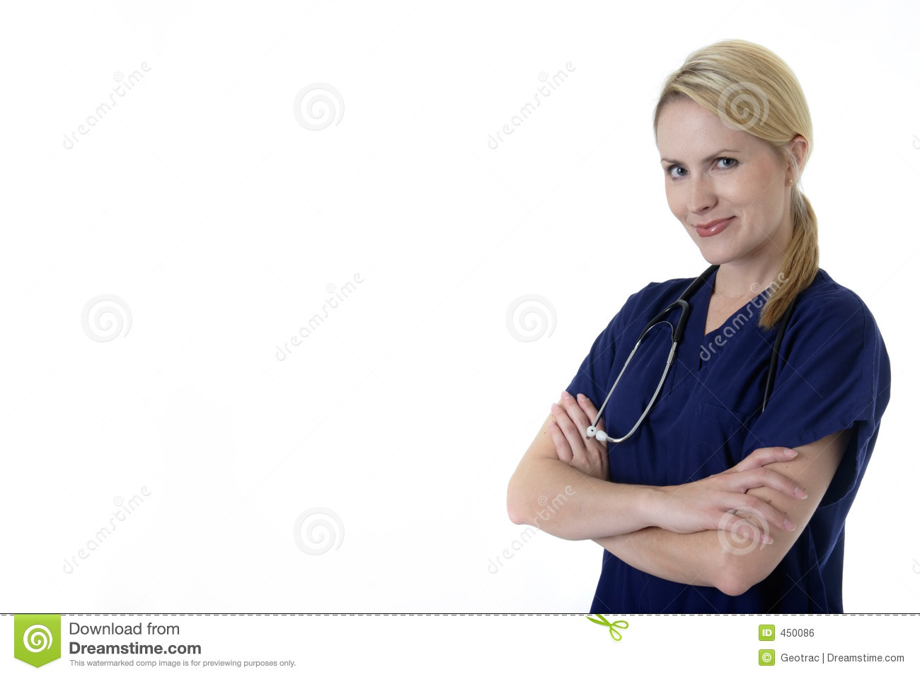 Download Pretty Nurse With Arms Crossed Smiling Stock Photo - Image of blond, nurse: 450086