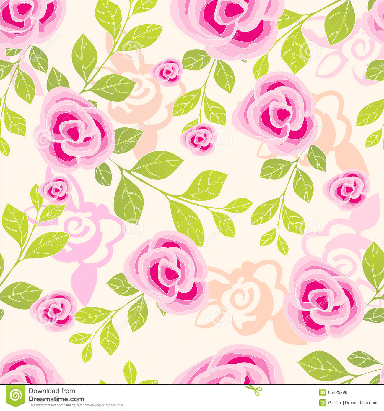 Pretty Painted Flowers Seamless Background Stock Vector