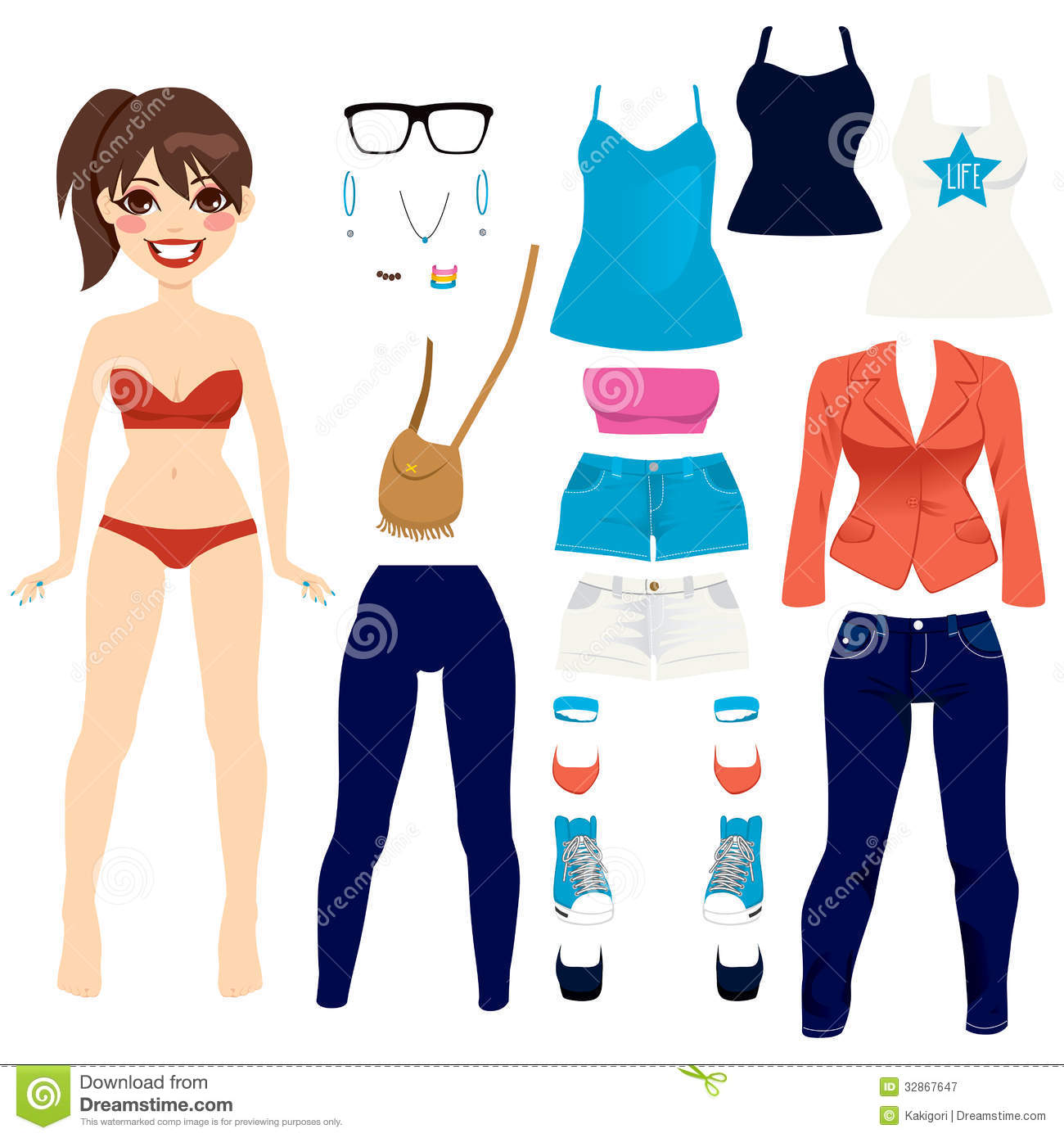 Clipart of a Happy Diverse Women Clothes Shopping or Swapping