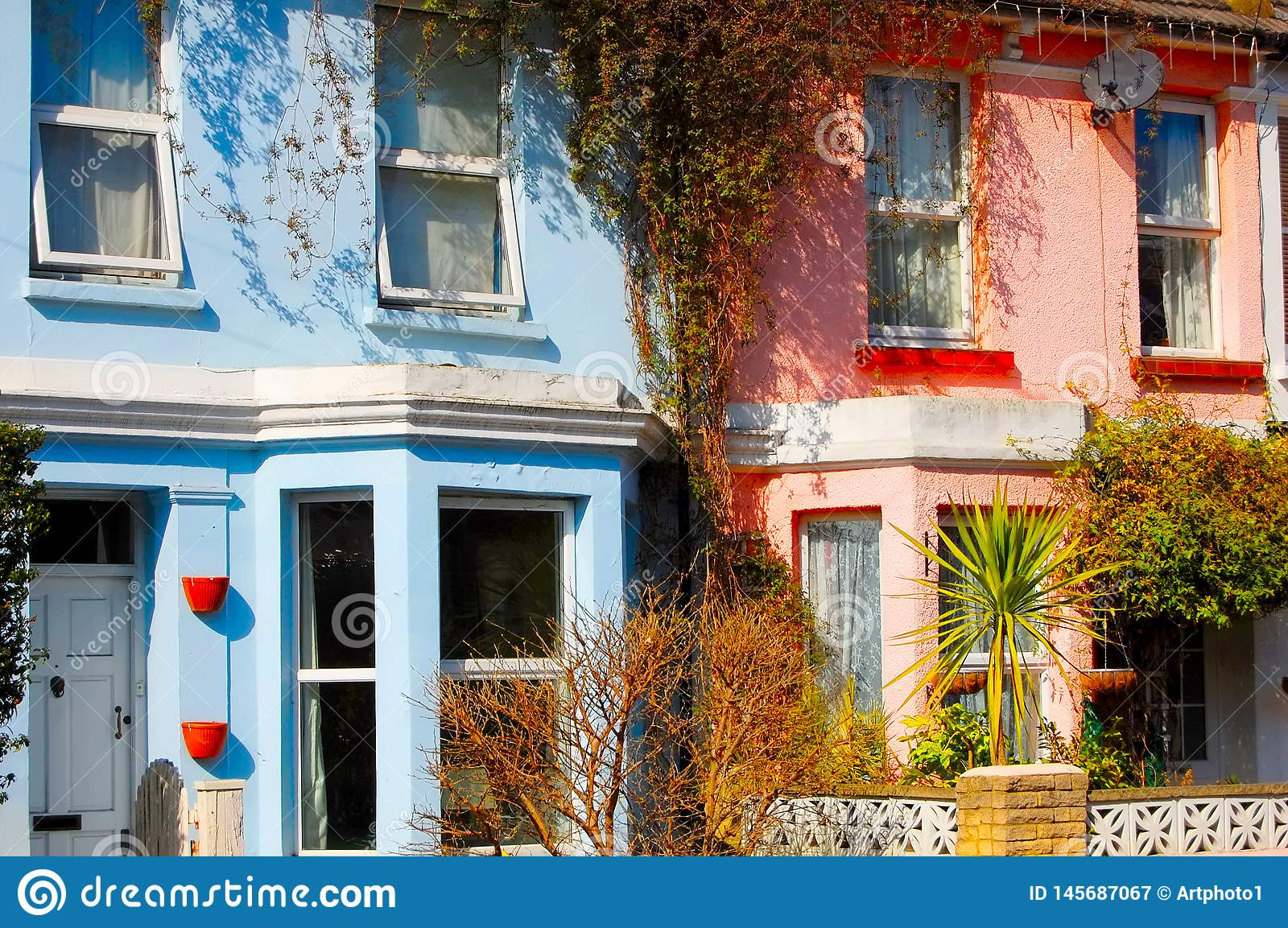 Pretty pastel shade painted terraced houses