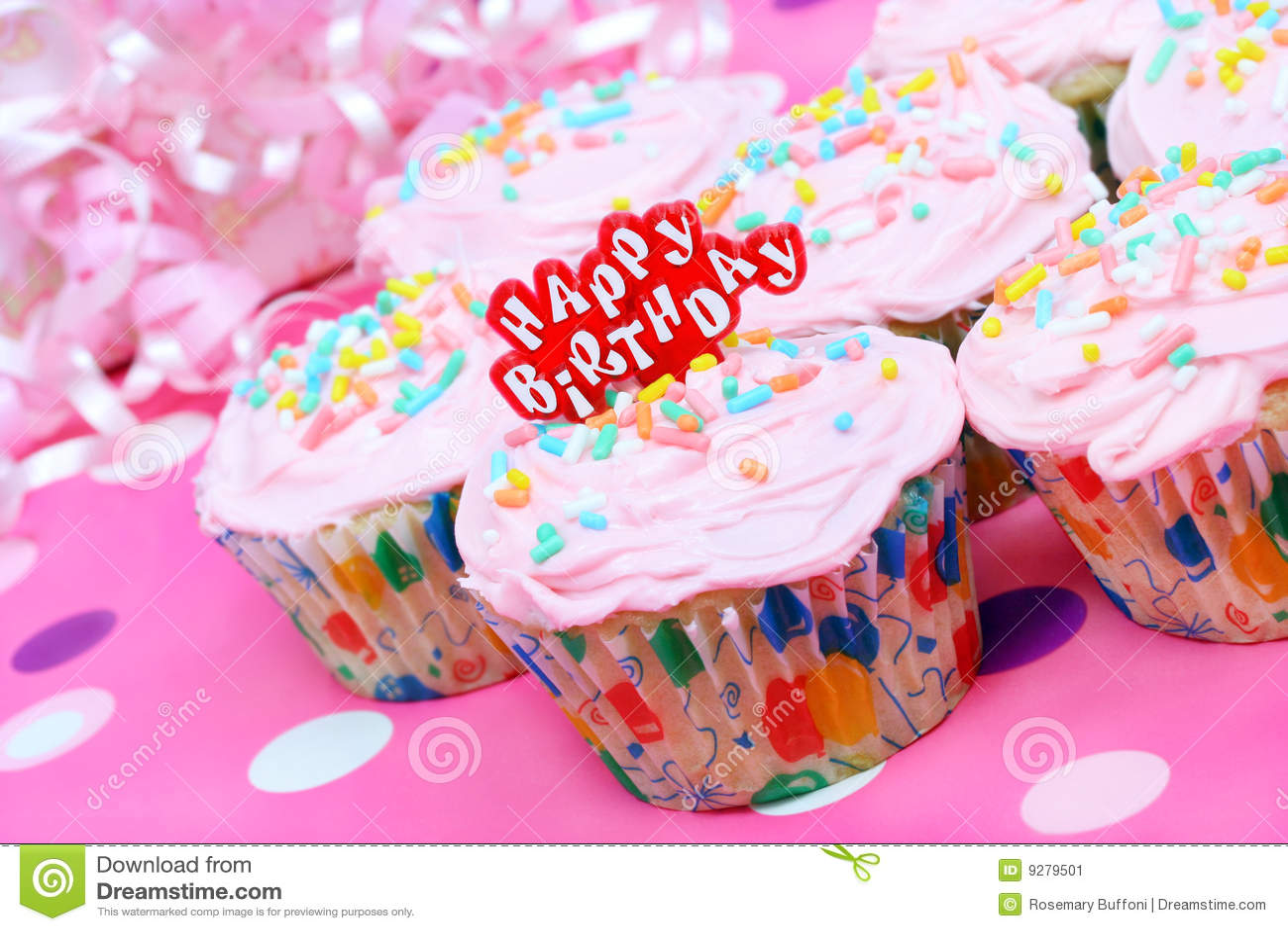 Pretty Pink Birthday Cupcakes Stock Image Image Of