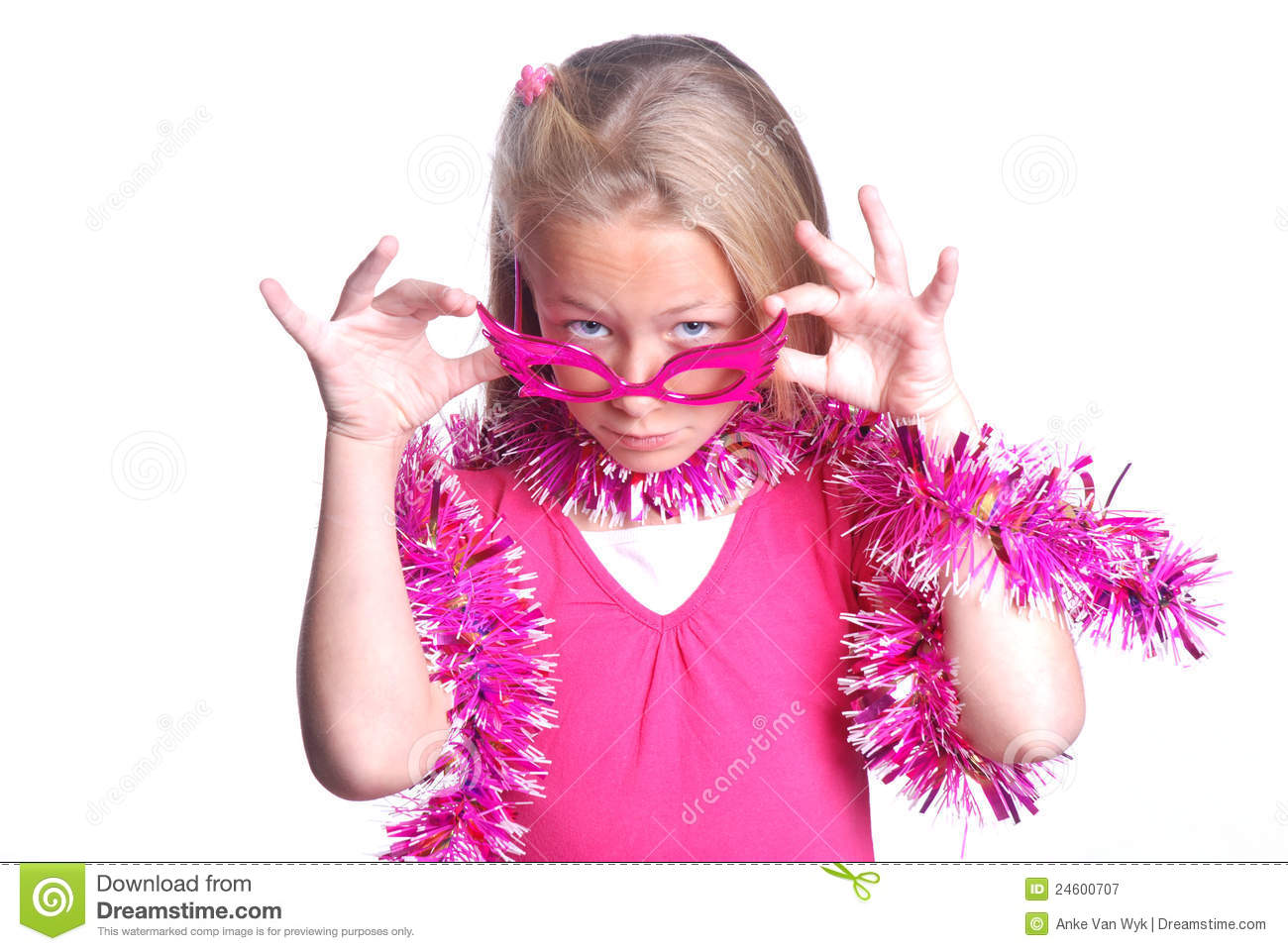Download Pretty Pink Little Party Girl Stock Image - Image of cute, expression: 24600707