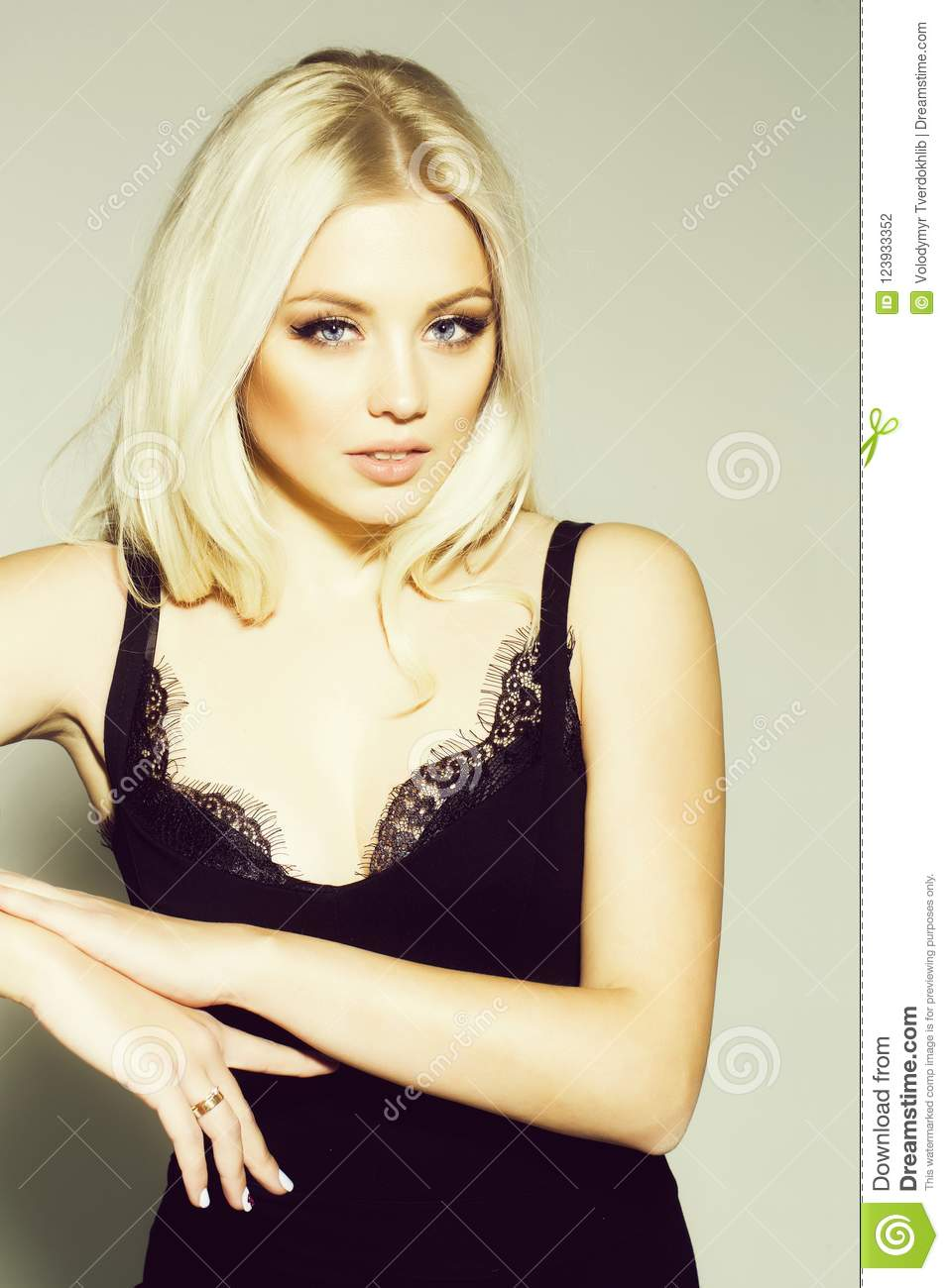 Pretty Platinum Blonde Girl In Black Stock Photo Image Of Hair