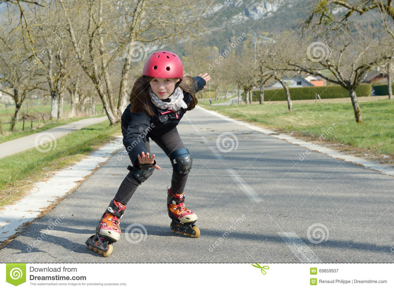 Woman Roller Skating Sport Activity In Park Royalty Free