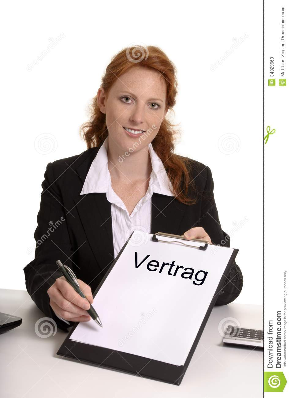 Pretty red-haired business woman with contract