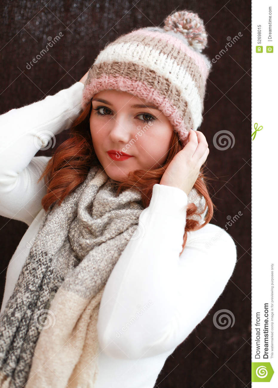 Pretty Red Headed Girl Wearing Pom Pom Hat And Scarf Stock Image ... 3b705997af4