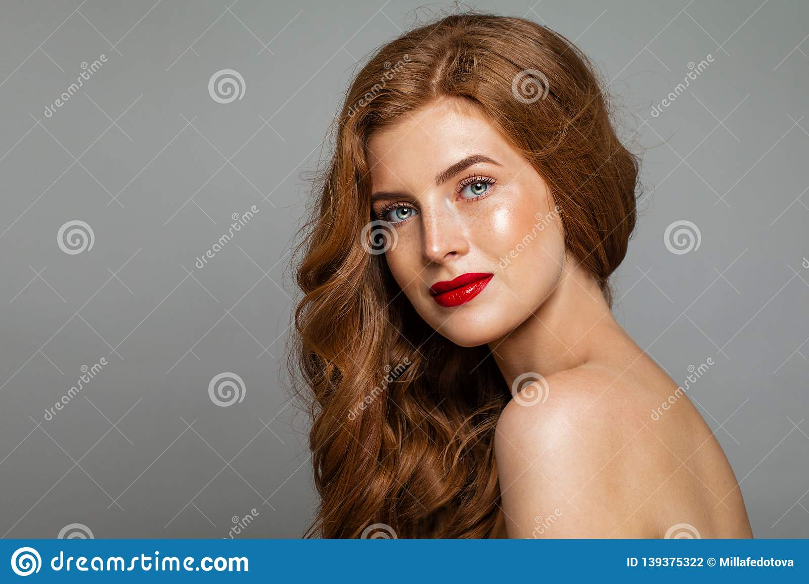 Pretty Redhead Woman Face. Red Head Girl With Curly Hairstyle ...