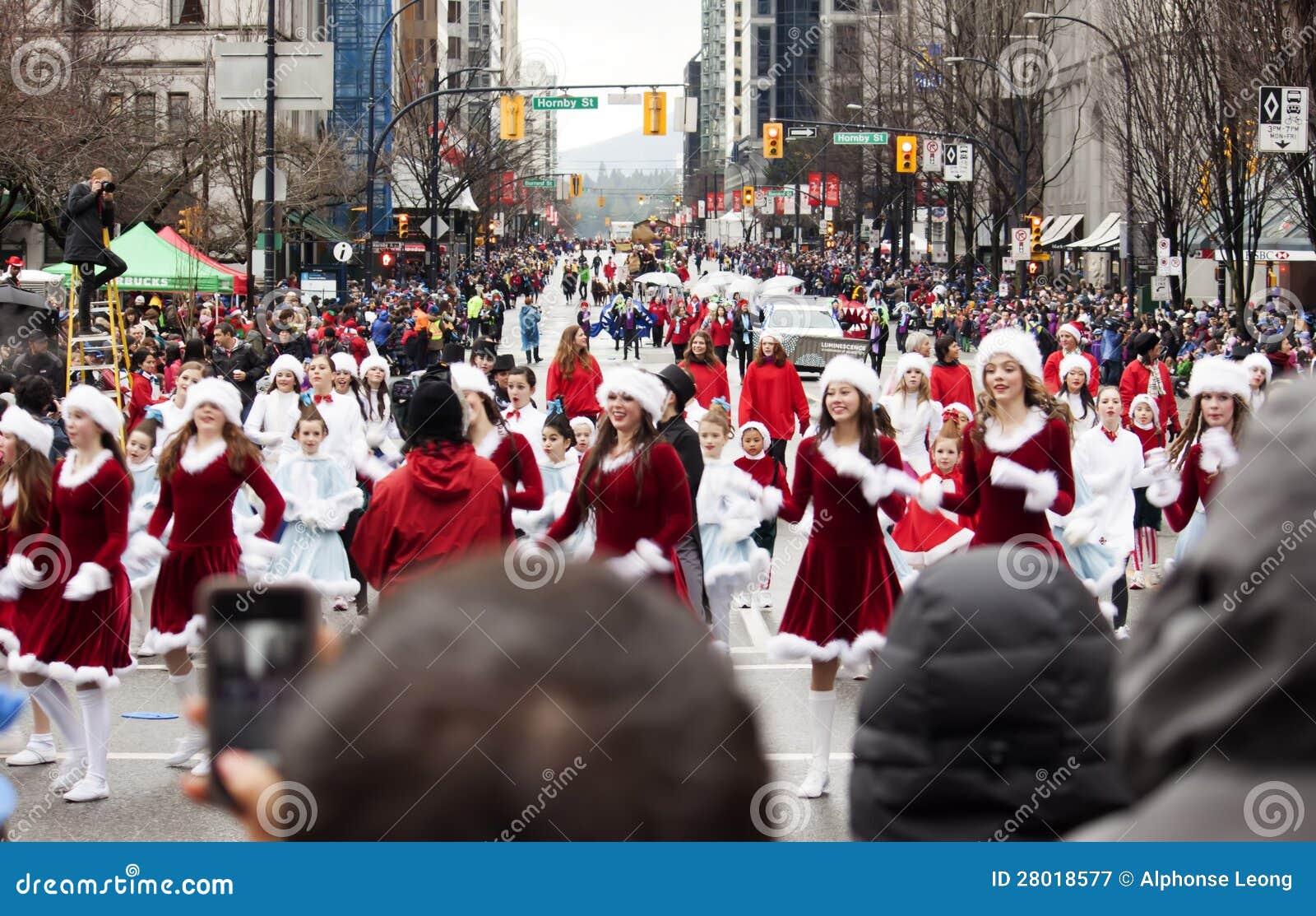 Vancouver Christmas Parade.Pretty Santas At Christmas Parade Editorial Photography