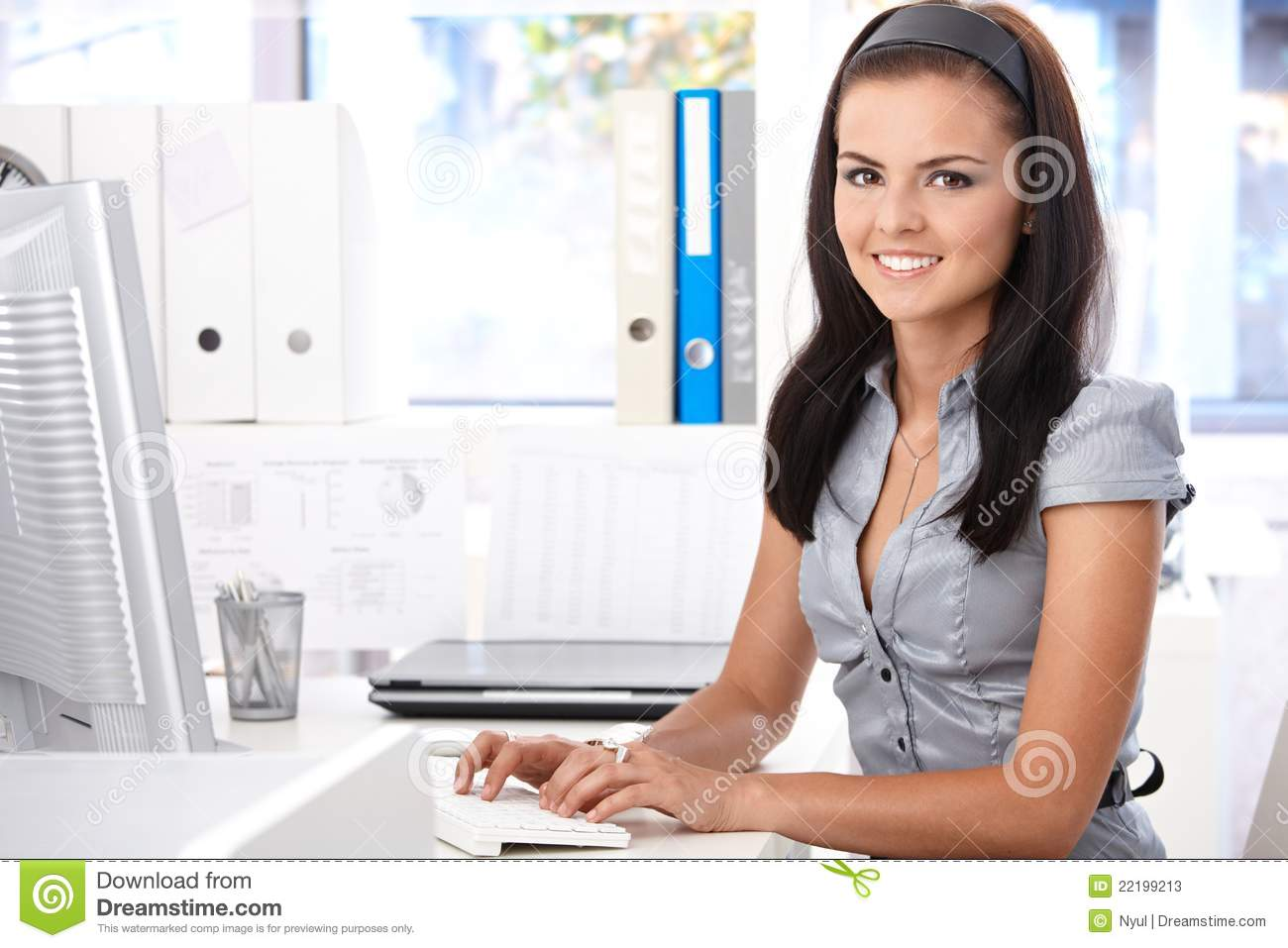 pretty secretary typing on computer smiling stock photos image 22199213 cheerleader clipart outlines cheerleader clipart outlines