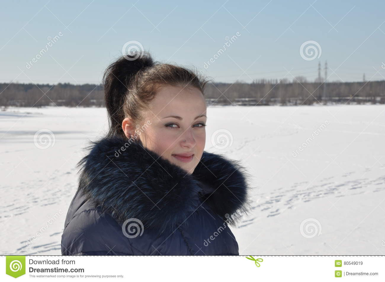 7937126e7 Pretty girl on snow stock image. Image of nature