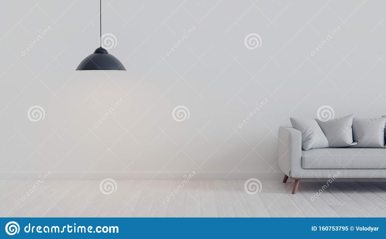 Pretty Simple Decor Of Living Room With Blue Sofa And Light Blue Wall Stock Illustration Illustration Of Home Decor 160753795