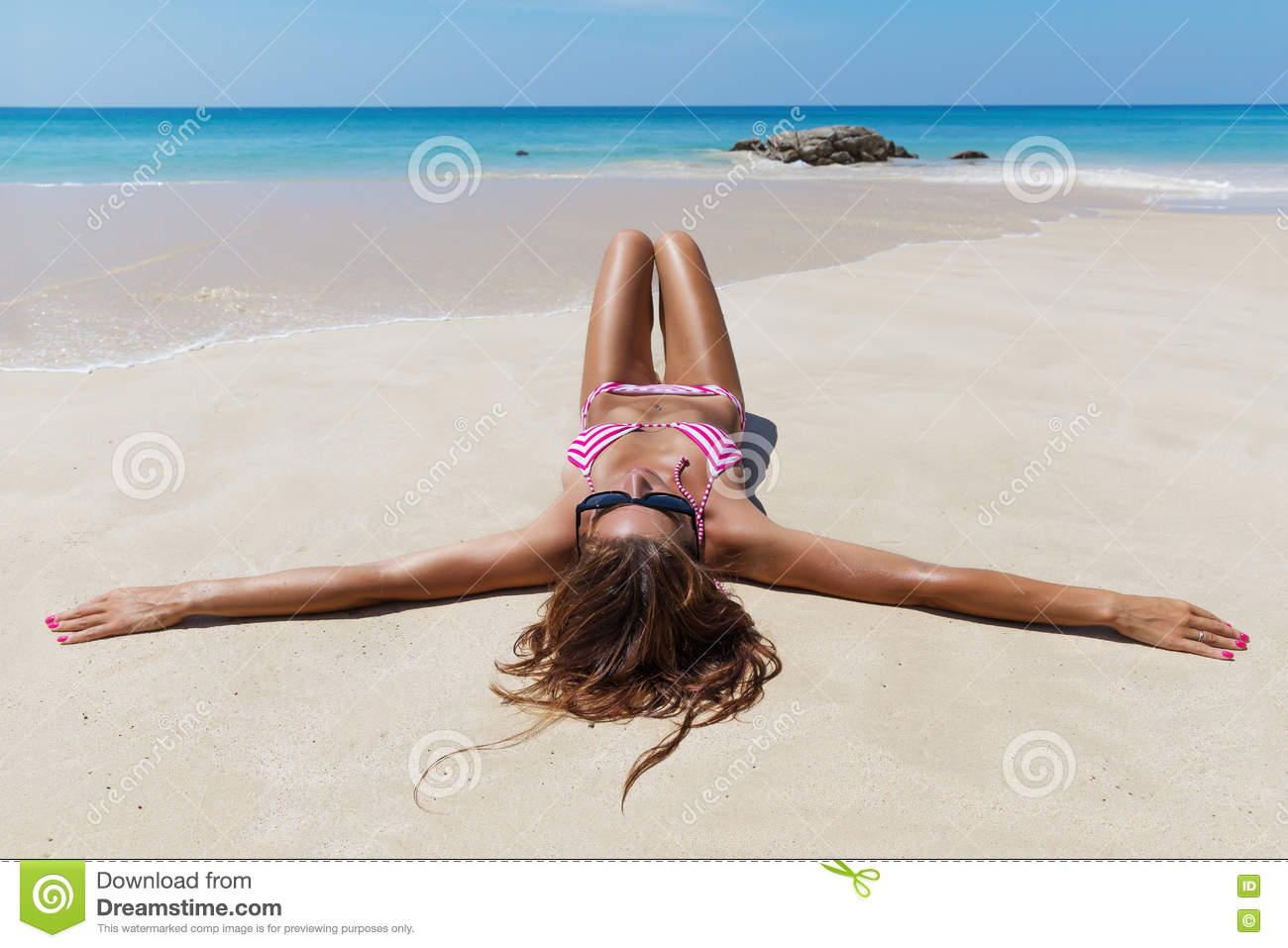 Pretty Brunette On The Beach Background Stock Image ...