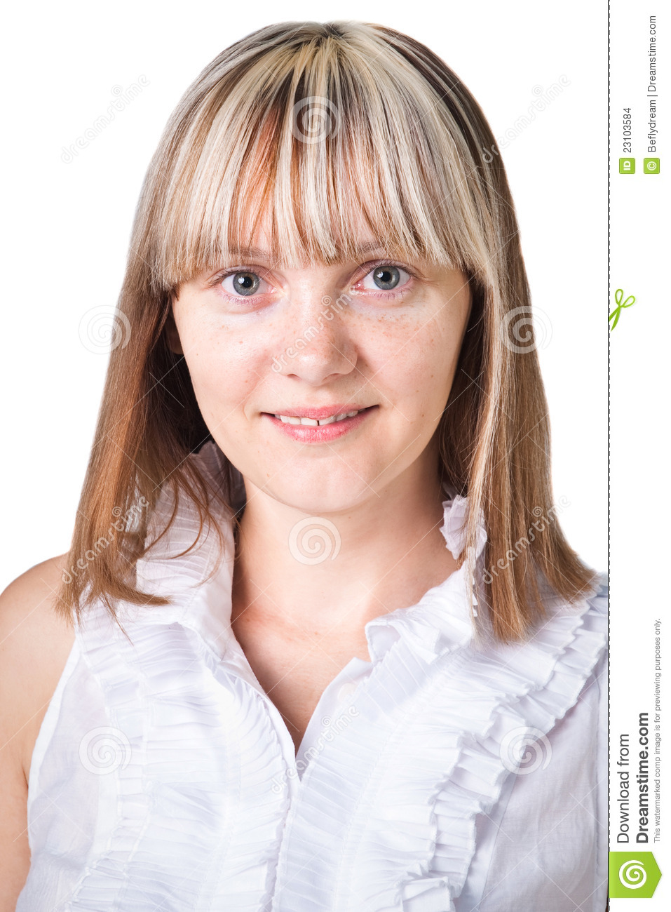 Pretty Smiling Young Woman Without Makeup On White Stock