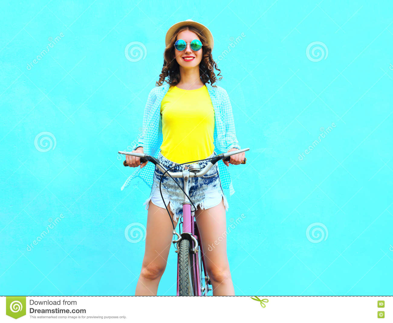 Happy Pretty Smiling Woman Rides A Bicycle Over Colorful ...