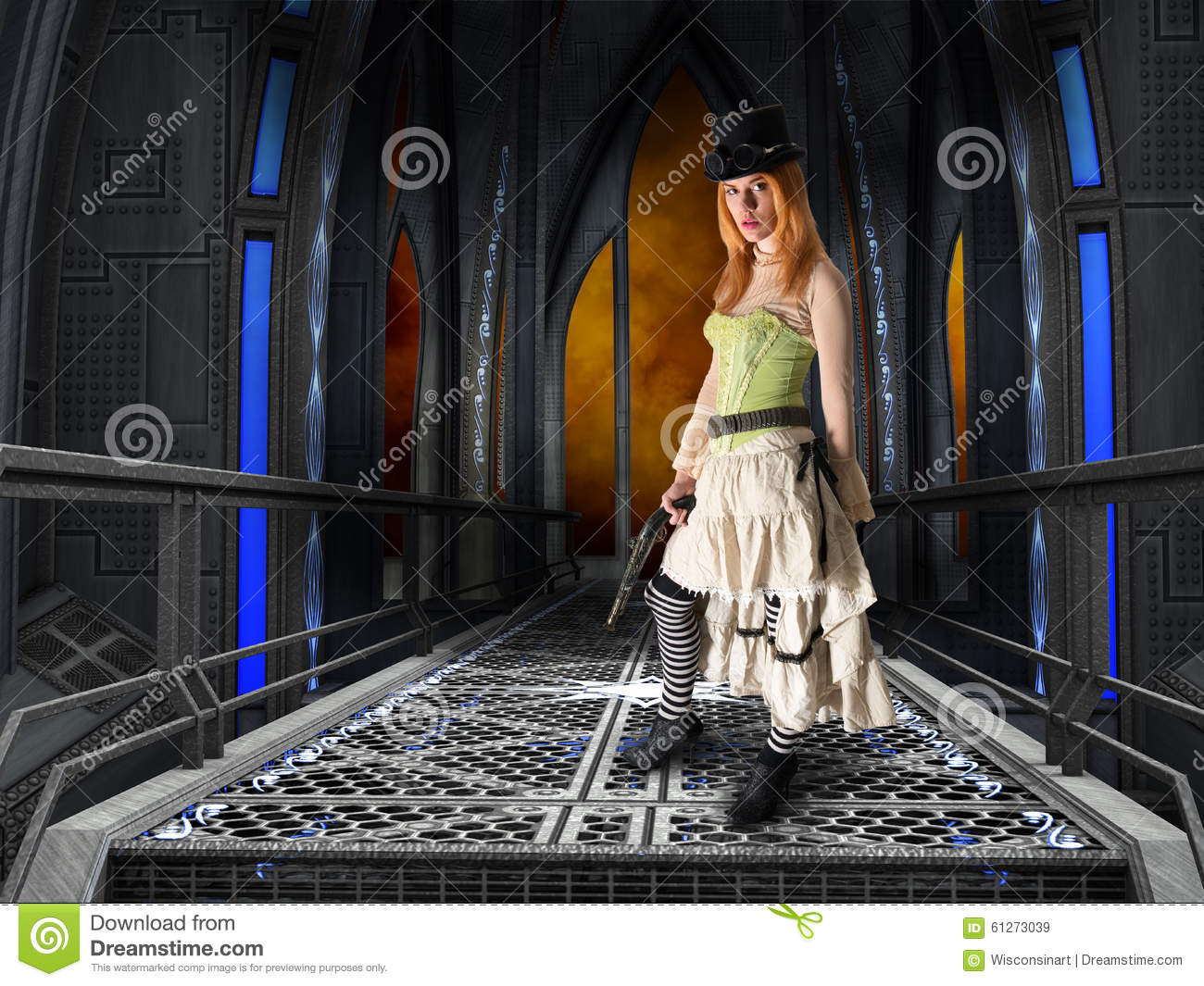 Pretty Steampunk Woman, Industrial Background