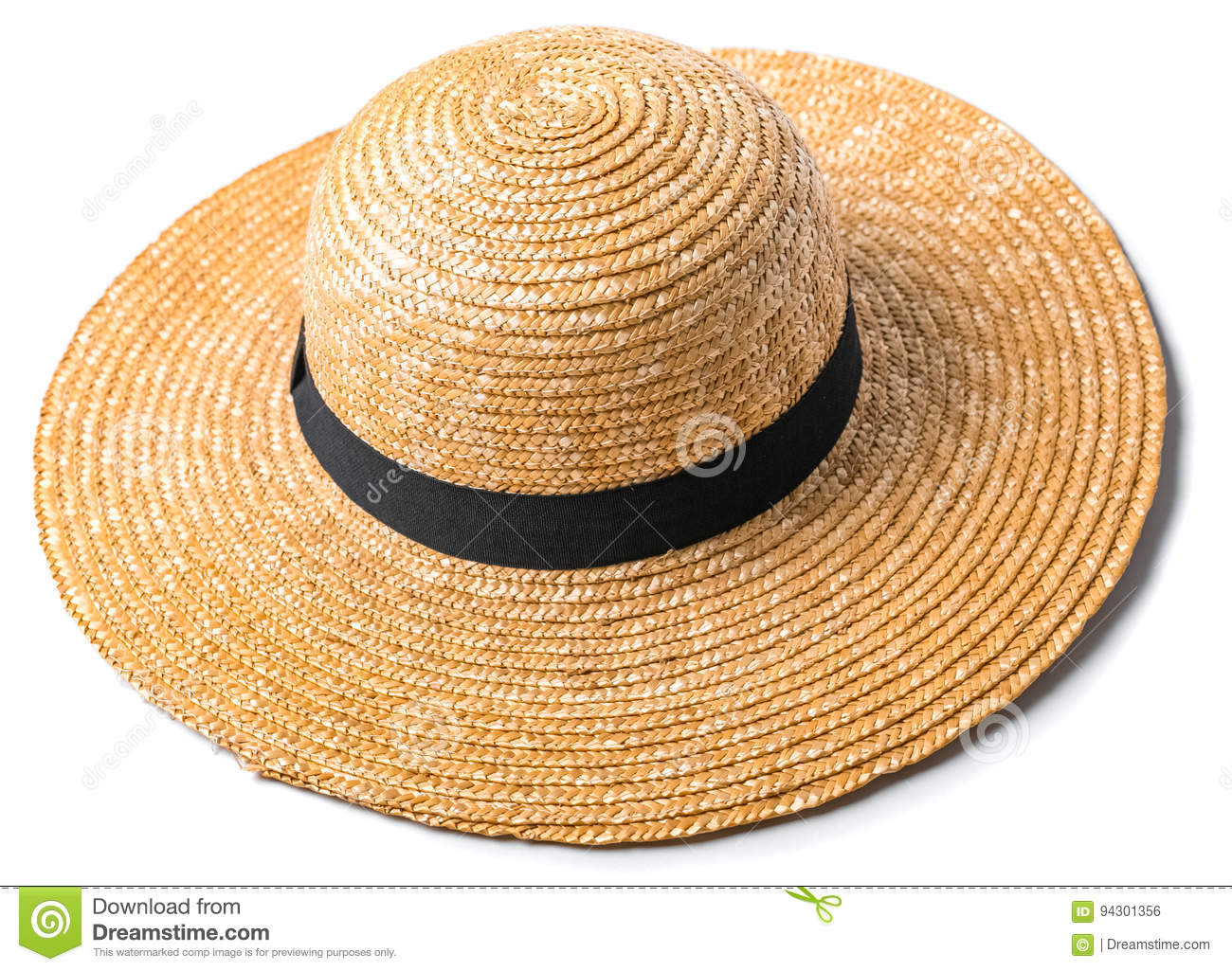 Pretty beautiful straw hat with ribbon and bow on white background beach hat  from a side view isolated 6c8a18177cd