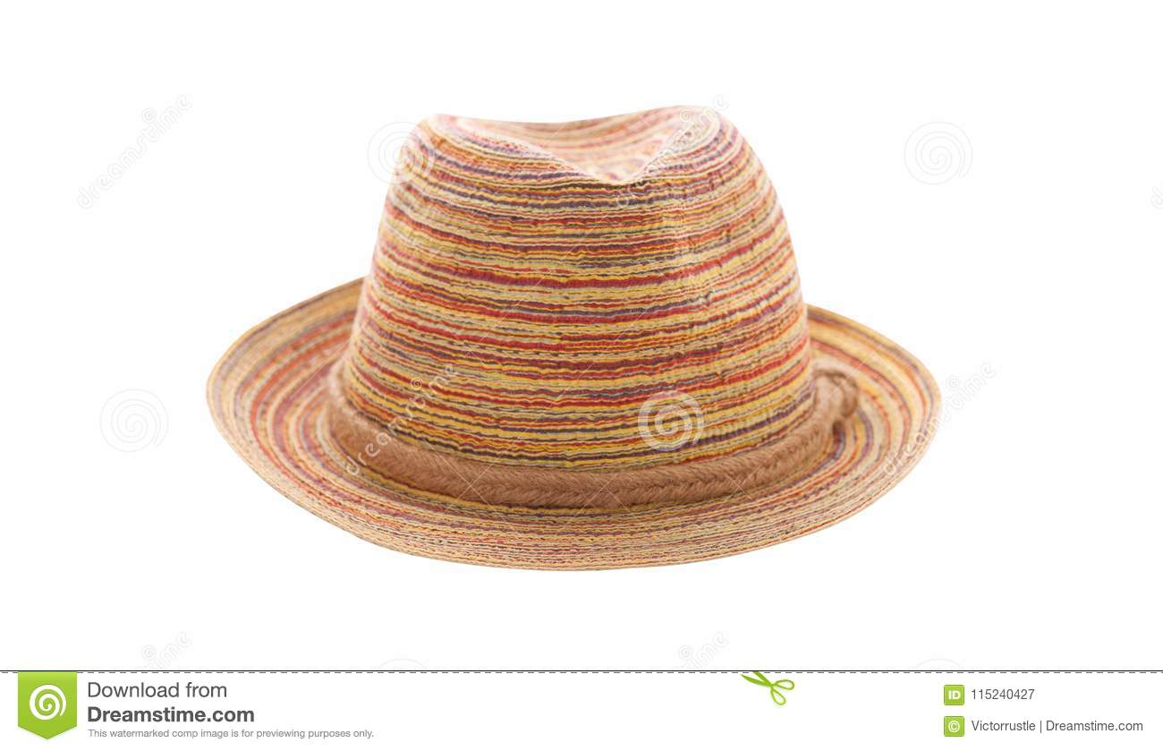 Pretty Straw Hat Isolated On White Background bb9e9c740070