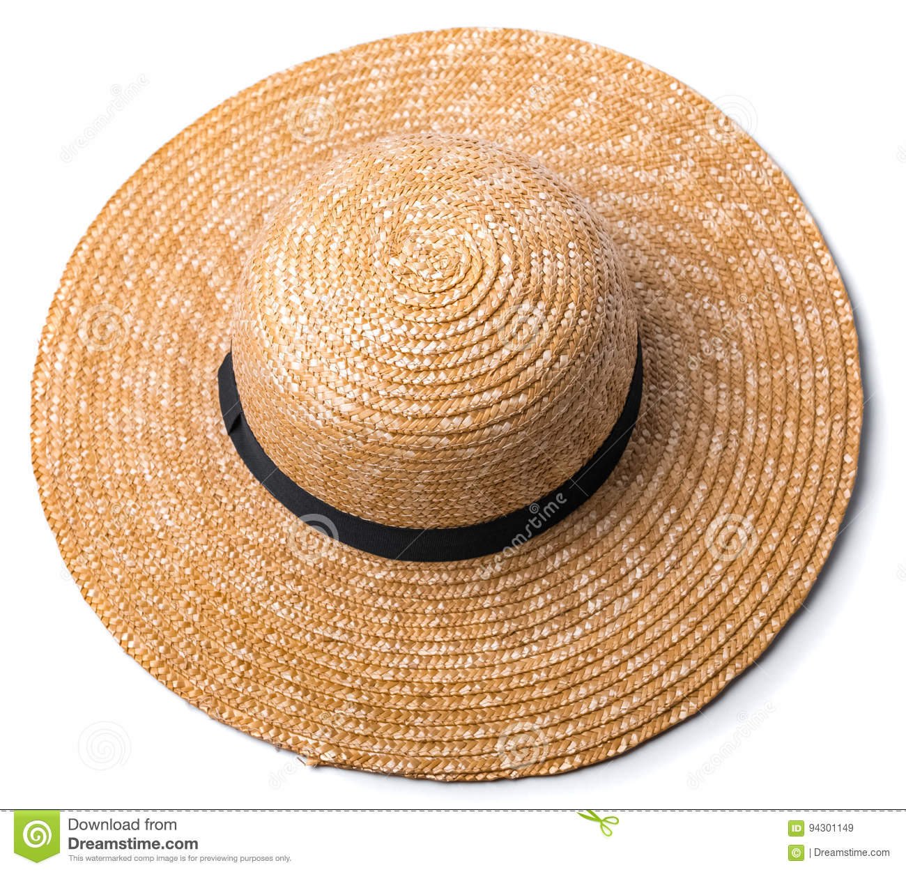 Pretty beautiful straw hat with ribbon and bow on white background beach hat  from above view isolated 7b189cac3be2
