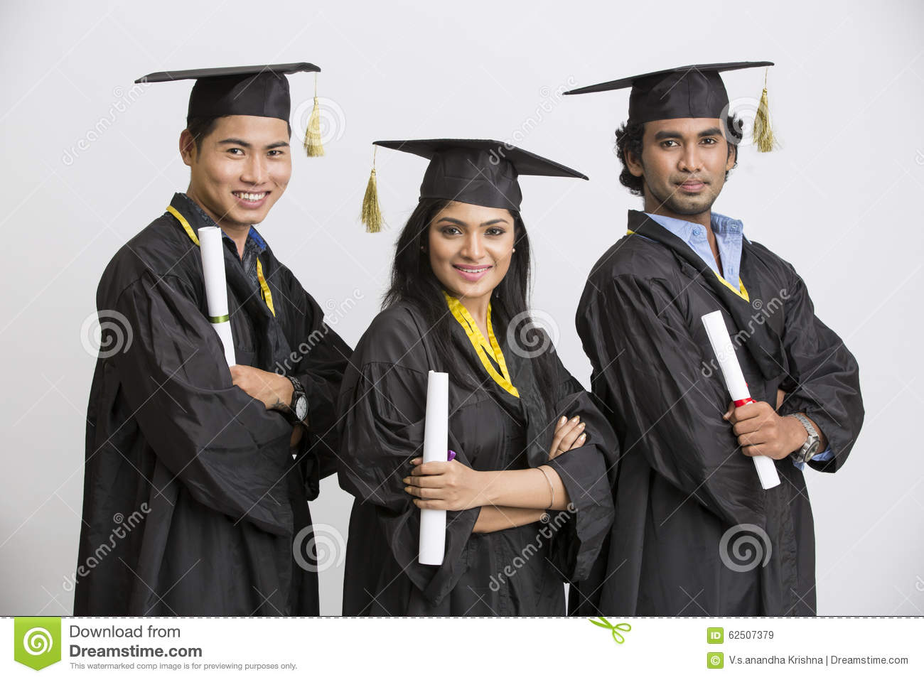 Pretty Successful Indian Girl College Graduate Wearing Cap And Gown ...