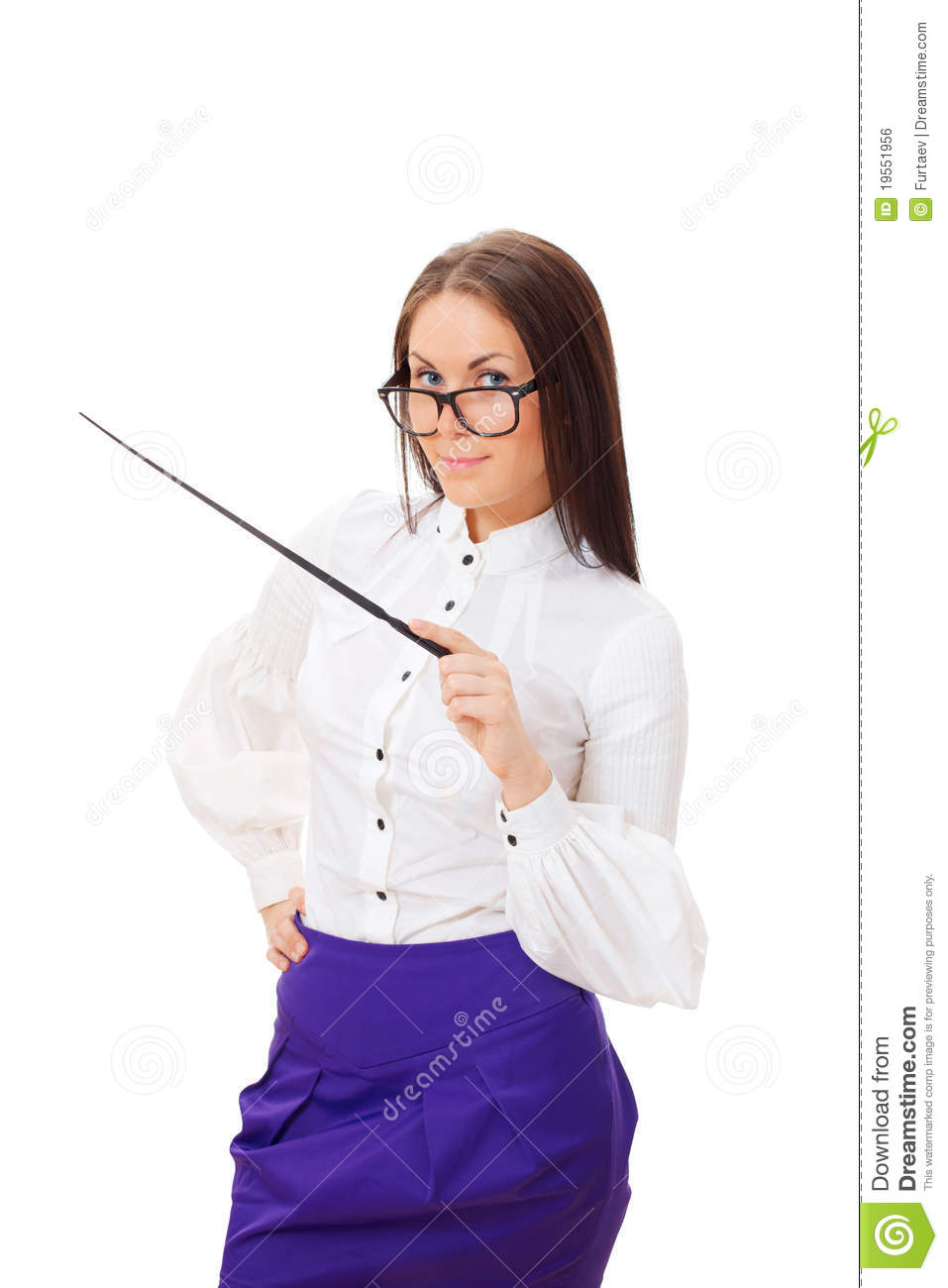 Pretty Teacher With Pointer Royalty Free Stock Image - Image 19551956-2989