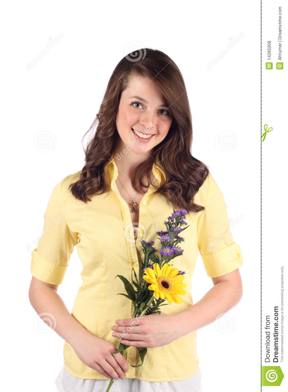 Pretty Teen With Flowers Royalty Free Stock Photos
