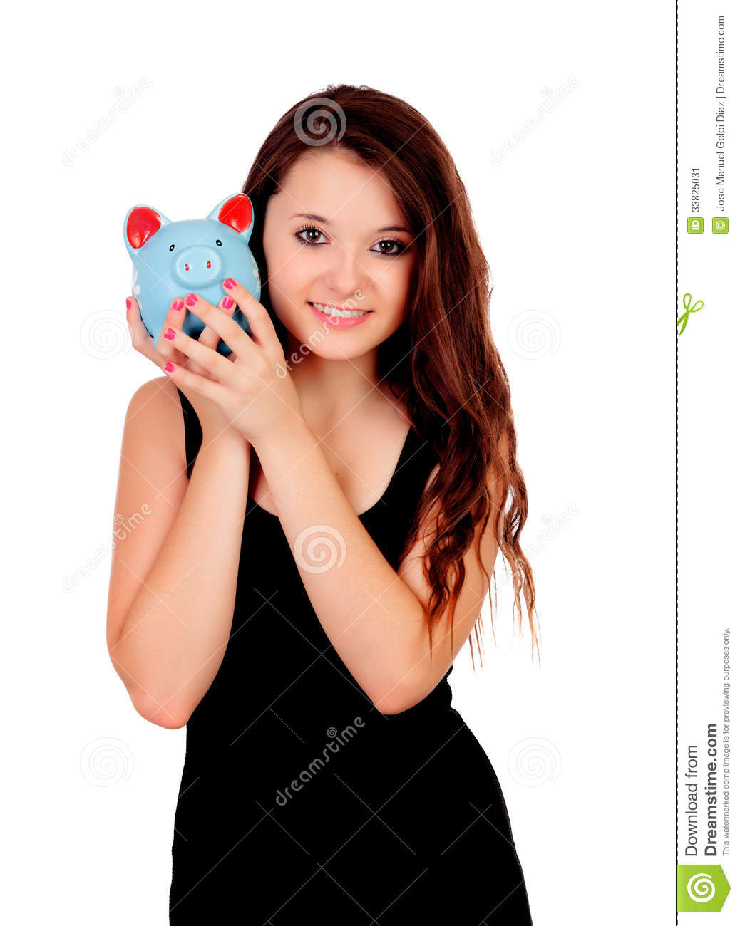 Pretty Teen Girl With A Blue Piggy Bank Stock Image