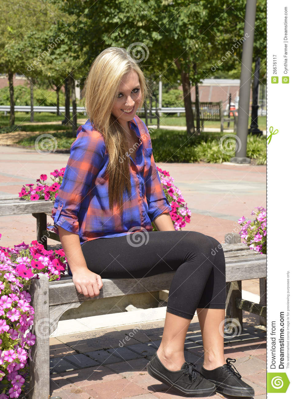 Pretty Teen Girl Sitting On A Wood Bench Stock Image ...