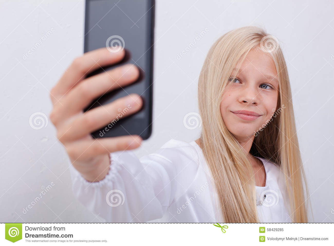 Pretty Teen Girl Taking Selfies With Her Smart Stock Image
