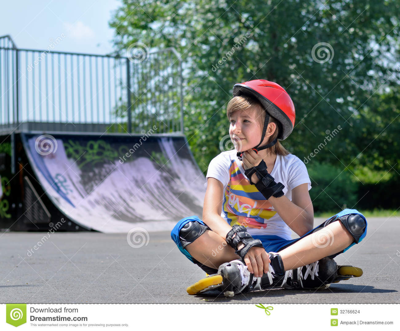 pretty teenage girl in roller skating gear stock photo