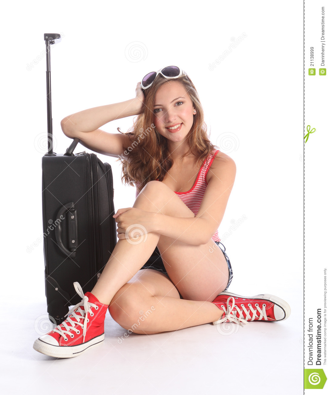 Pretty Teenager Girl Packed Waiting With Suitcase Stock