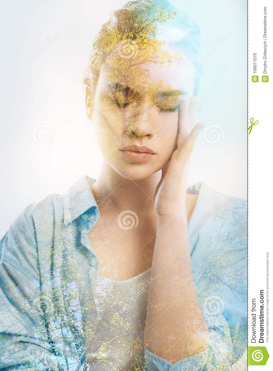 Pretty thoughtful girl touching her face closing eyes.