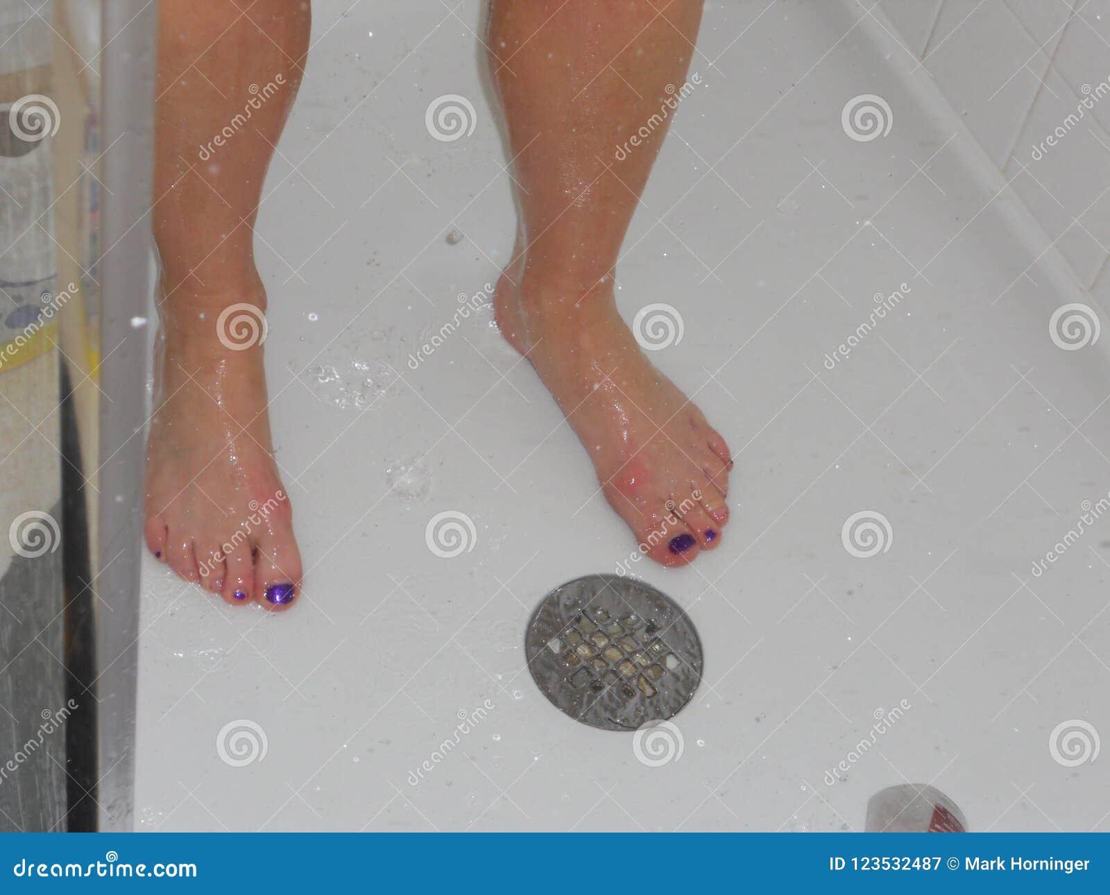 pretty toes feet painted purple nailpolish stock image image of