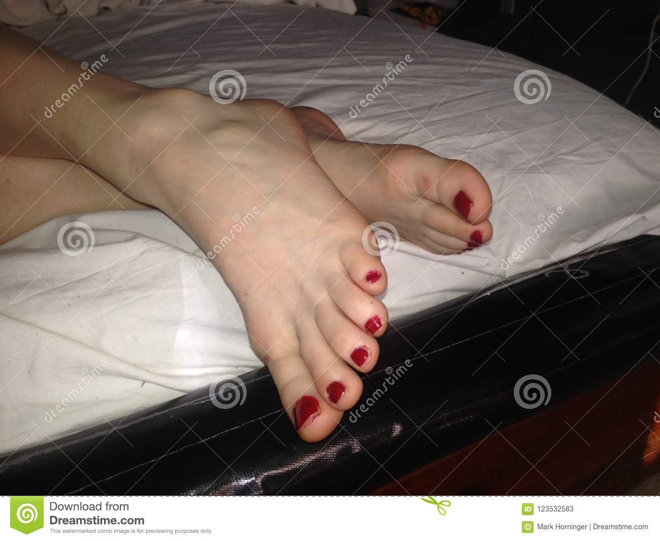 pretty toes feet painted red nailpolish stock image image of