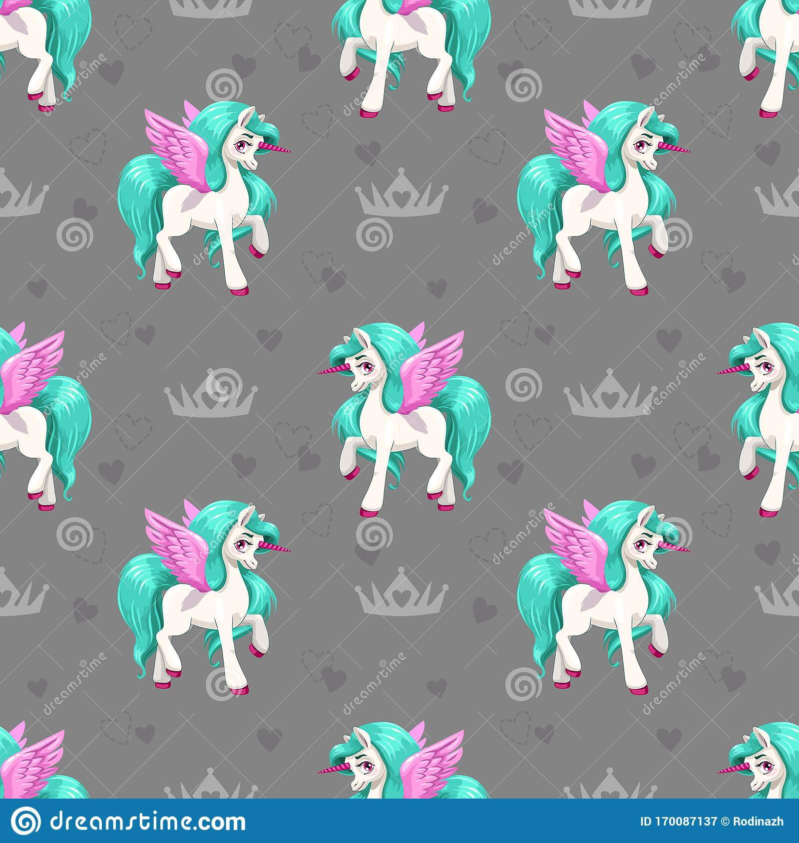 Pretty Unicorn Seamless Pattern For Girls With Cute Cartoon Little Horses Stock Vector Illustration Of Cute Character 170087137