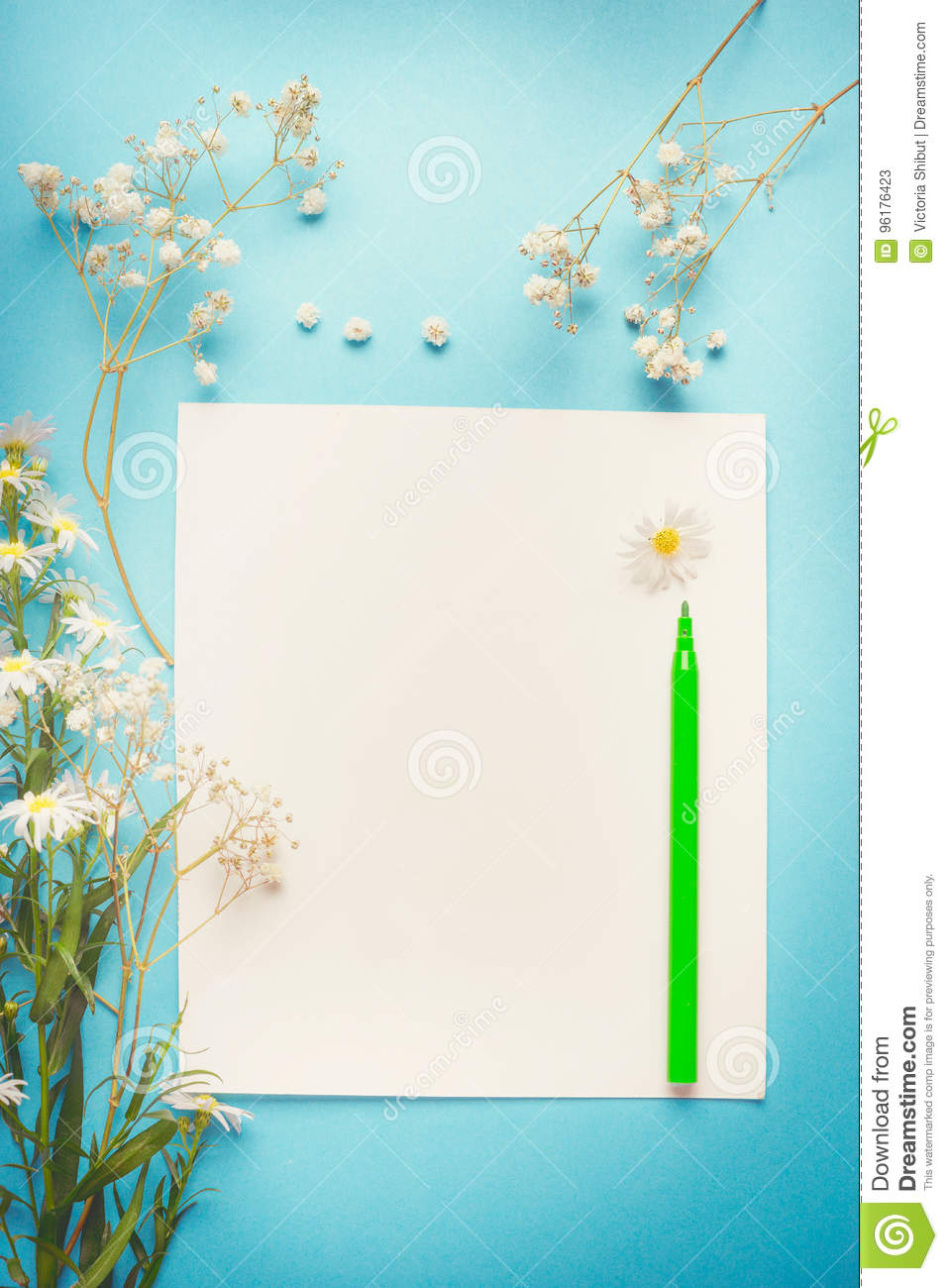 Pretty white flowers on blank paper with pen for greeting note pretty white flowers on blank paper with pen for greeting note list or drawing mightylinksfo