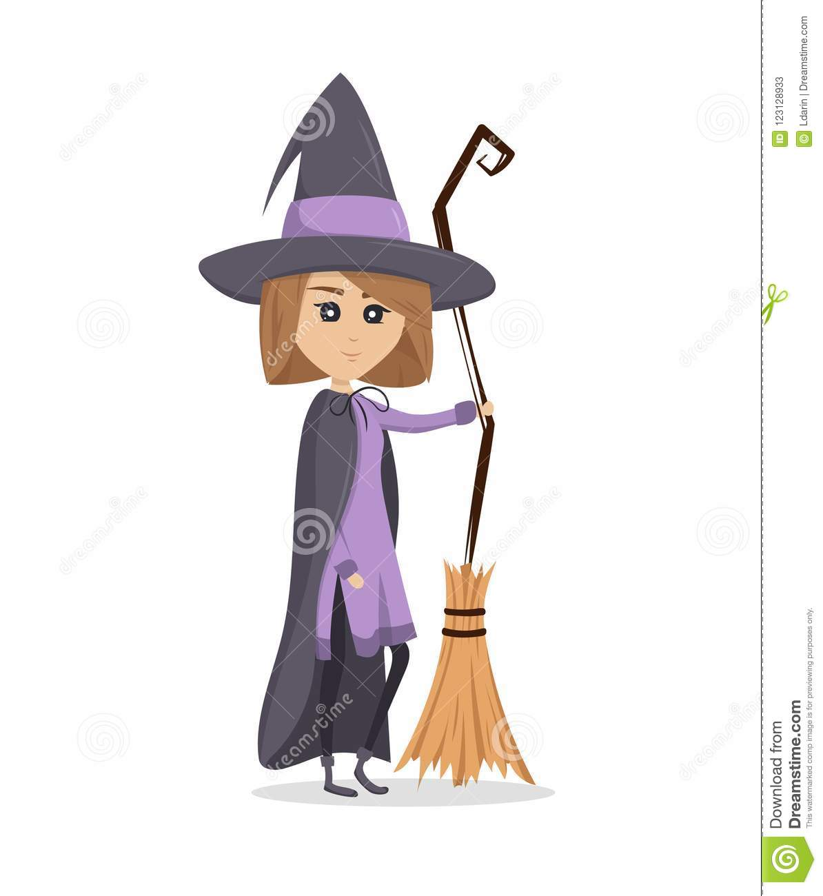 a pretty witch is standing with broom halloween stock vector