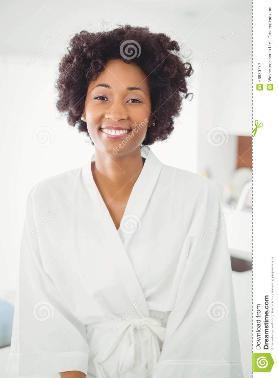 Pretty Woman In Bath Robe Smiling At The Camera Stock Photo - Image ...