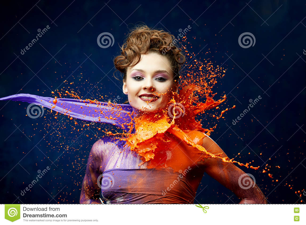 Pretty Woman Being Hit By Paint Stock Photo - Image of healthy ...