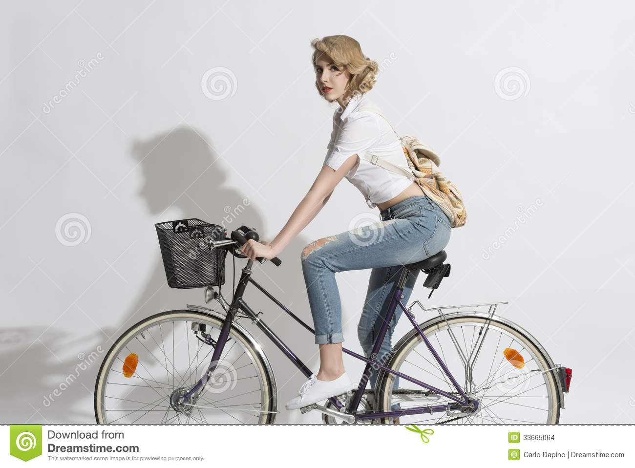 pretty woman on a bicycle stock images   image 33665064