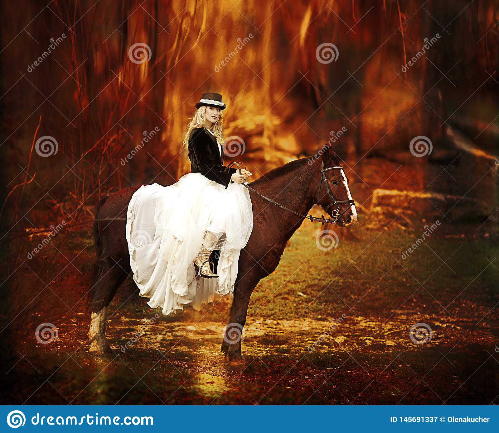 Pretty Woman With Black Horse In Autumnal Nature Fashion Photoshoot Stock Image Image Of Cute Lifestyle 145691337
